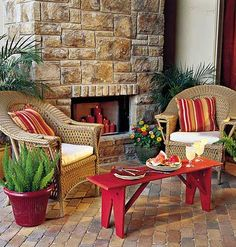 outdoor stone fireplace from the My Home Ideas website
