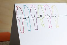 Thank You Card With Rainbow Birds, Hand Drawn Birds on a Wire Thank You Card, 4x6 Folded Note Card With Bird Silhouettes. $5.00, via Etsy.
