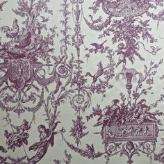 Quitessentially French Thibaut Rockwood Neoclassical Toile Dual Purpose Fabric in Plum & Cream