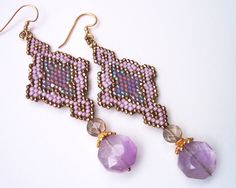 Natural Amethyst Arabesque Antique Gold Earrings. $180.00, via Etsy.