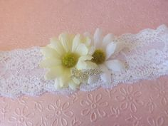 Daisy Stretch Lace Wedding Garter Set Love by creations4brides