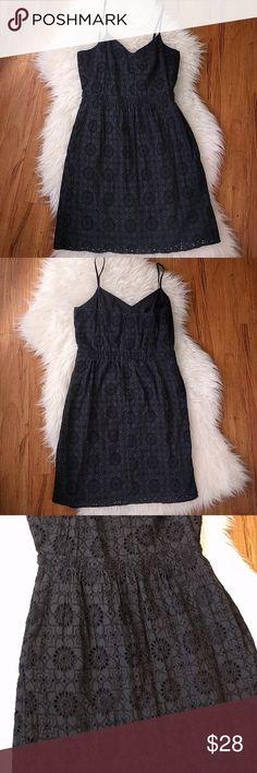 "Madewell Black Eyelet Spaghetti Strap Dress Madewell Black Eyelet Spaghetti Strap Dress  Size 6, in EUC, adjustable straps, fully lined.  Bust 16.75""  Waist 14""  Length 29""  100% Cotton Madewell Dresses"