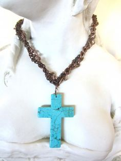 Giant turquoise cross necklace