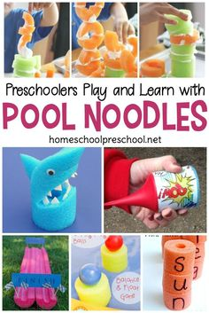 Don't let summer stop you from teaching your preschoolers. These pool noodle ideas are perfect for making your homeschool preschool lessons so much fun! Summer Preschool Activities, Outdoor Activities For Kids, Preschool Lessons, Teaching Kindergarten, Toddler Preschool, Toddler Activities, Teaching Ideas, Bubble Activities, Toddler Games