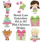 Boutique Pink Christmas Machine Embroidery Design Set 4X4 & 5X7 on CD
