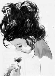 """""""Invece di provare una fitta di tristezza, sento soltanto un vuoto. Uno spazio di boscaglia rinsecchita là dove un tempo sbocciavano fiori.""""  Suzanne Collins Illustrazione: Loui Jover"""