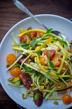"Zucchini and tomato ""pasta."" raw"