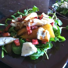Pear, pancetta & Gorgonzola salad - Lorraine Pascale recipe :) Simply Food, Simply Recipes, Chef Recipes, Cooking Recipes, Healthy Recipes, Tv Chefs, Vegetable Salad, Summer Salads, Soup And Salad