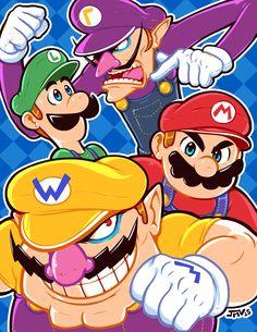 Mario Bros. and the Mario Clones by Kaigetsudo.deviantart.com on @DeviantArt