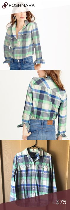 🌟Host Pick🌟J. Crew flannel boyfriend shirt J. Crew flannel boyfriend shirt in pacey plaid. NWT. Size 4. Cotton. Long roll-up sleeves. Patch pockets with button closure. Machine wash. Vibrant blue and green plaid. First two photos belong to J.Crew.      Wardrobe Goals Host Pick 8/21 🌟 J. Crew Tops Button Down Shirts
