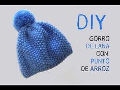 Aprender a tejer: Cómo hacer gorro de lana punto de arroz DIY - YouTube