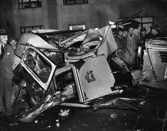 The mangled wreckage of a cab and a truck which collided on 39th Street and 2nd Avenue in New York circa 1941.