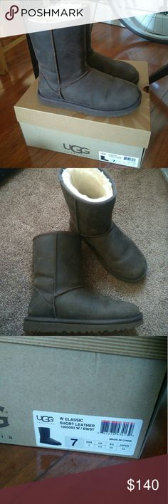 UGG classic short leather boots UGG classic short leather boots. Impulsive buy, never used. Not my style UGG Shoes