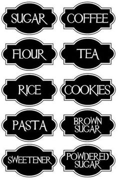 A very chic set of 10 Vinyl Kitchen Canister Labels.: dapur, 10 Best Inspirations of Kitchen Island with Seating That Will Amaze You Kitchen Canister Labels, Pantry Labels, Jar Labels, Spice Labels, Silhouette Cameo Projects, Silhouette Design, Silhouette Vinyl, Vinyl Crafts, Vinyl Projects