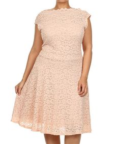 Another great find on #zulily! Pink Lace Cap-Sleeve Dress - Plus by Status Array #zulilyfinds