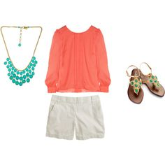 coral and turquoise outfit !