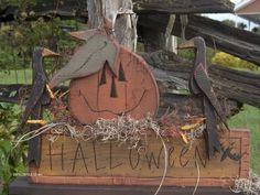 Handmade Primitive Wood Crafts | Primitive Autumn Decor - Bing Images | Wood craft ideas | Pinterest