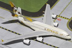 This Gemini Jets Etihad Airways Airbus model airplane is made of Die-Cast Metal. Airbus A380, Gemini, Airplane Toys, Passenger Aircraft, Diecast Model Cars, Model Airplanes, Scale Models, Aviation, Jets