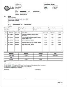 Purchase Order Sample  Business Doc    Layouts And Craft