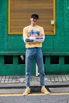 Street Style Kim Taegeun, Seoul    Follow FILET. for more street wear style #filetclothing WOMEN'S ATHLETIC & FASHION SNEAKERS http://amzn.to/2kR9jl3 #StreetStyleFashion