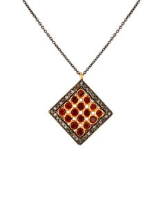 Checkers Ruby and Rose Cut Diamonds Necklace