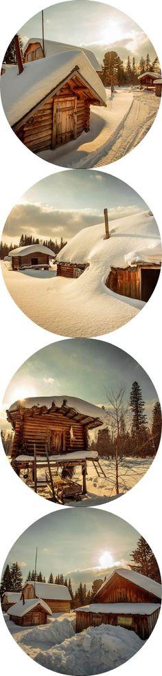Winter in Siberian village, Russia.