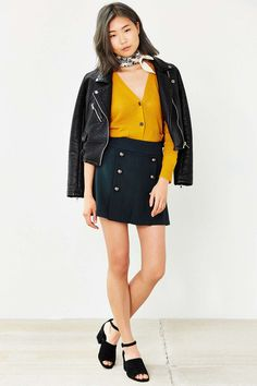 COPE Pleated Button-Panel Skirt - Urban Outfitters