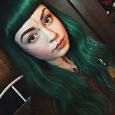 Wavy Long Hair with Bangs and Green Coloring - hair - Hair Emerald Green Hair, Dark Green Hair, Green Hair Colors, Hair Colour, Long Hair With Bangs, Long Wavy Hair, Hairstyles With Bangs, Pretty Hairstyles, Hairstyle Ideas