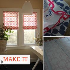 DIY Roman Shades using old blinds, without any sewing. Looks like it might take 20 min to make these. Awesome.