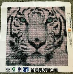 Finished Diamond Painting, White Tiger Head, Full Mosaic, Round Rhinestones on Canvas by TheBlushinRose on Etsy Tiger Head, Canvas Board, Shades Of White, New Crafts, Pink Purple, Rhinestones, Mosaic, Art Pieces, It Is Finished