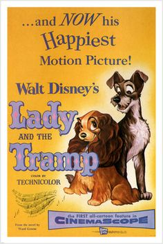 Walt Disney's Lady And The Tramp Movie Poster 1955 24x36 Vintage Cartoon by Uneedyt on Etsy https://www.etsy.com/listing/271348022/walt-disneys-lady-and-the-tramp-movie