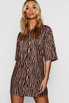 Half Sleeve Tonal Zebra Print Shift Dress Print Shift, Zebra Print, Half Sleeves, Boohoo, Shopping, Collection, Tops, Dresses, Women