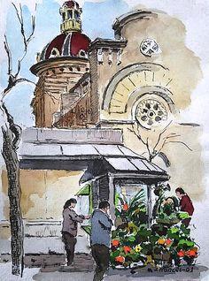 Sant Andreu, Barcelona. Joaquim Francés (pen & watercolor)