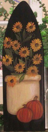 Primitive HP Folk Art Crock of Sunflowers Pumpkins Fall Stretcher | eBay