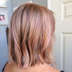 Rose gold hair, pink hair, wella instamatics, lob, long bob, balayage, blonde, hair painting: