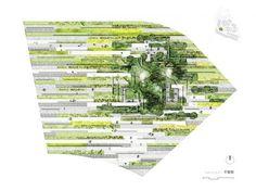 Atelier EEM, Alessandro delli Ponti, Verdiana Spicciarelli --> The Forest Tissue Garden, a prize winner for the International Garden Expo in Hubei, China Plans Architecture, Landscape Architecture Design, Architecture Graphics, Landscape Plans, Architecture Drawings, Urban Landscape, Chinese Architecture, Architecture Diagrams, Architecture Portfolio