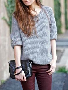 Chunky knit sweaters + oxblood skinnies.
