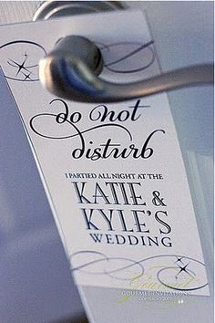 do not disturb signs for wedding guests - to be included in the welcome bags