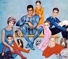 Retrato del cómico Jerry Lewis (en el centro) y su familia - Margaret Keane