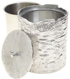 Polished aluminum bark ice bucket from Michael Aram's Leaf Forest collection
