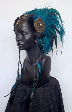 fr in love with this ethnic look - MADE TO ORDER Midsize Teal & Black Warrior Headpiece Headdress Tribal Fusion, Hippie Chic, Boho Chic, Arte Plumaria, Estilo Tribal, Ideas Joyería, Feather Headdress, Beltane, Costume Makeup