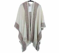 Humorous Womens Warm Winter Oversized Knitted Cashmere Poncho Capes Shawl With Tassels Two-side Cardigans Sweater Coats Wrap Double Use Apparel Accessories