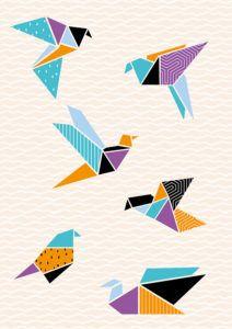 Origami bird wall art