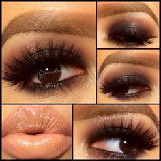 Gorgeous smokey eyes and nude lip combo!