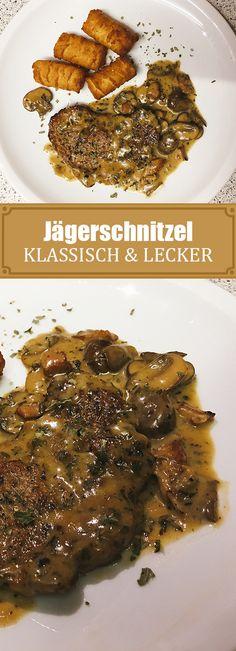 Jägerschnitzel - All About Gardens Hamburger Meat Recipes, Beef Recipes, Dog Food Recipes, Chicken Recipes, Boeuf Stroganoff Rezept, Beef Stroganoff, Schnitzel Recipes, Breastfeeding Foods, Homemade Burgers