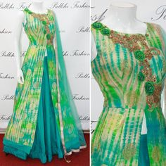 Latest design in Indian clothing. Made in Banarasi silk. One of a kind outfit. Exclusively at Palkhi Fashion.