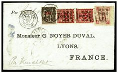 """1897 (14 May) coverfront with pre-printed address in Lyon, France, franked with a combination of surcharges 4c Dowager and vertical pair of large 2c on 3c Red Revenue, cancelled by brown """"Pakua"""" chops, sent via the French Post Office in Shanghai where 25c """"Chine"""" was added to pay for further transmission """"per French Packet,"""" fine and attractive item  --- $7,500.00   2013year"""