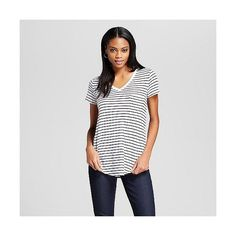 Women's V-Neck Tee with Pocket White/Black Stripe  - Mossimo, Size: ($12) ❤ liked on Polyvore featuring tops, t-shirts, stripe t shirt, v-neck tee, v neck t shirts, v neck tee and pocket tee