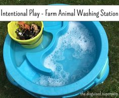 Farm Animal Washing Station - great activity to keep the kids busy outside!