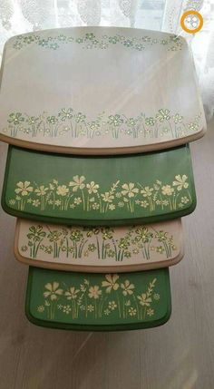 Wooden picture coffee table models - Home And Garden Hand Painted Furniture, Recycled Furniture, Paint Furniture, Furniture Making, Furniture Makeover, Painted Nesting Tables, Painted Coffee Tables, Stencil Painting, Painting On Wood